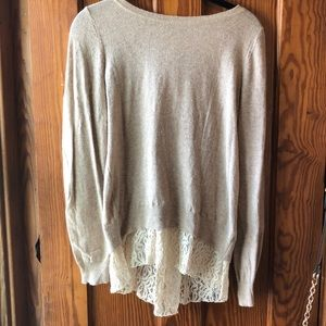 Sweater with Lace and Button Back